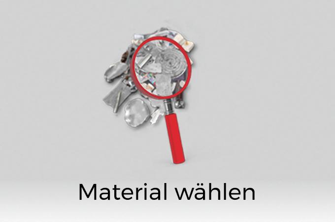 Rote Lupe, die Metall untersucht. Darunter Schriftzug