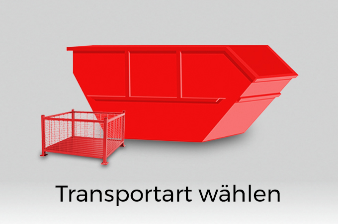 Ein großer und ein kleiner roter Container. Darunter der Schriftzug