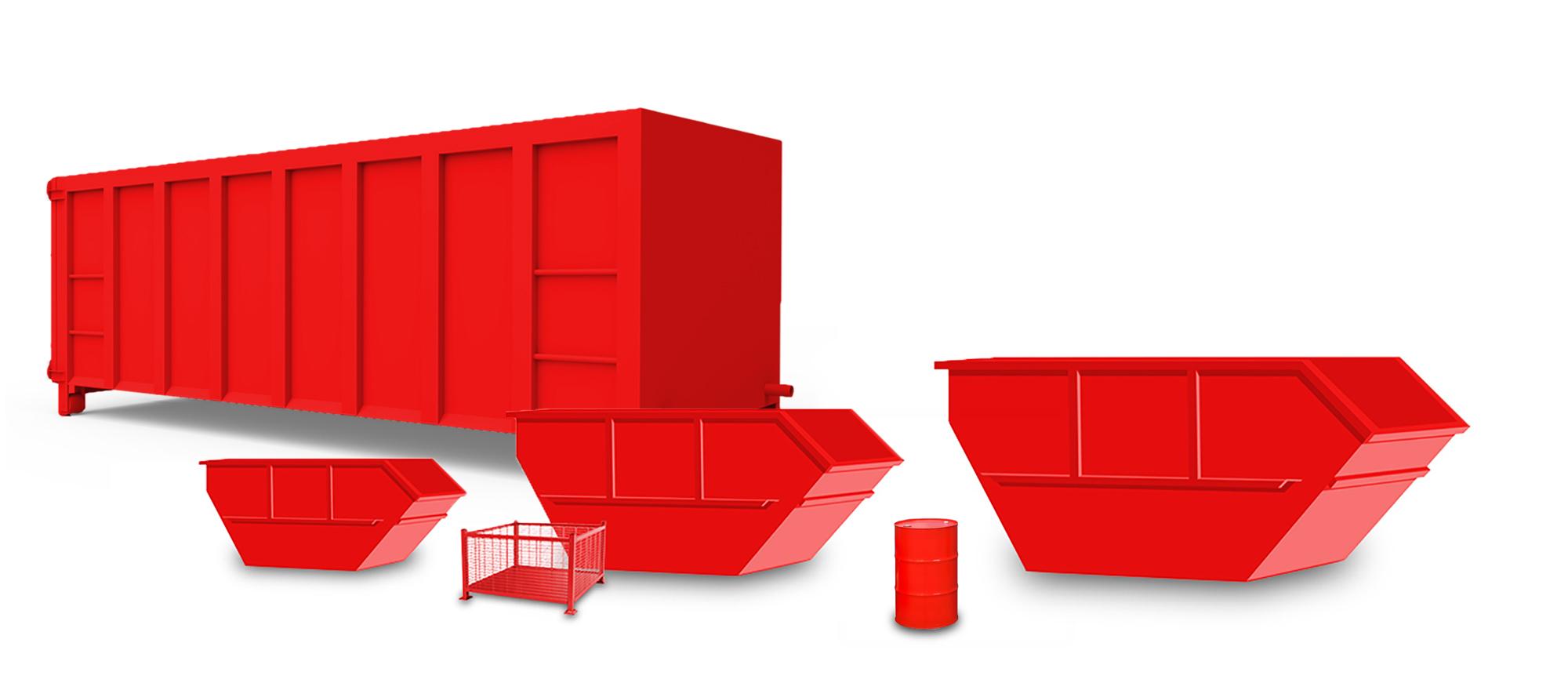 verschieden Arten und Größen von Container und ein Fass auf weißem Hintergrund.