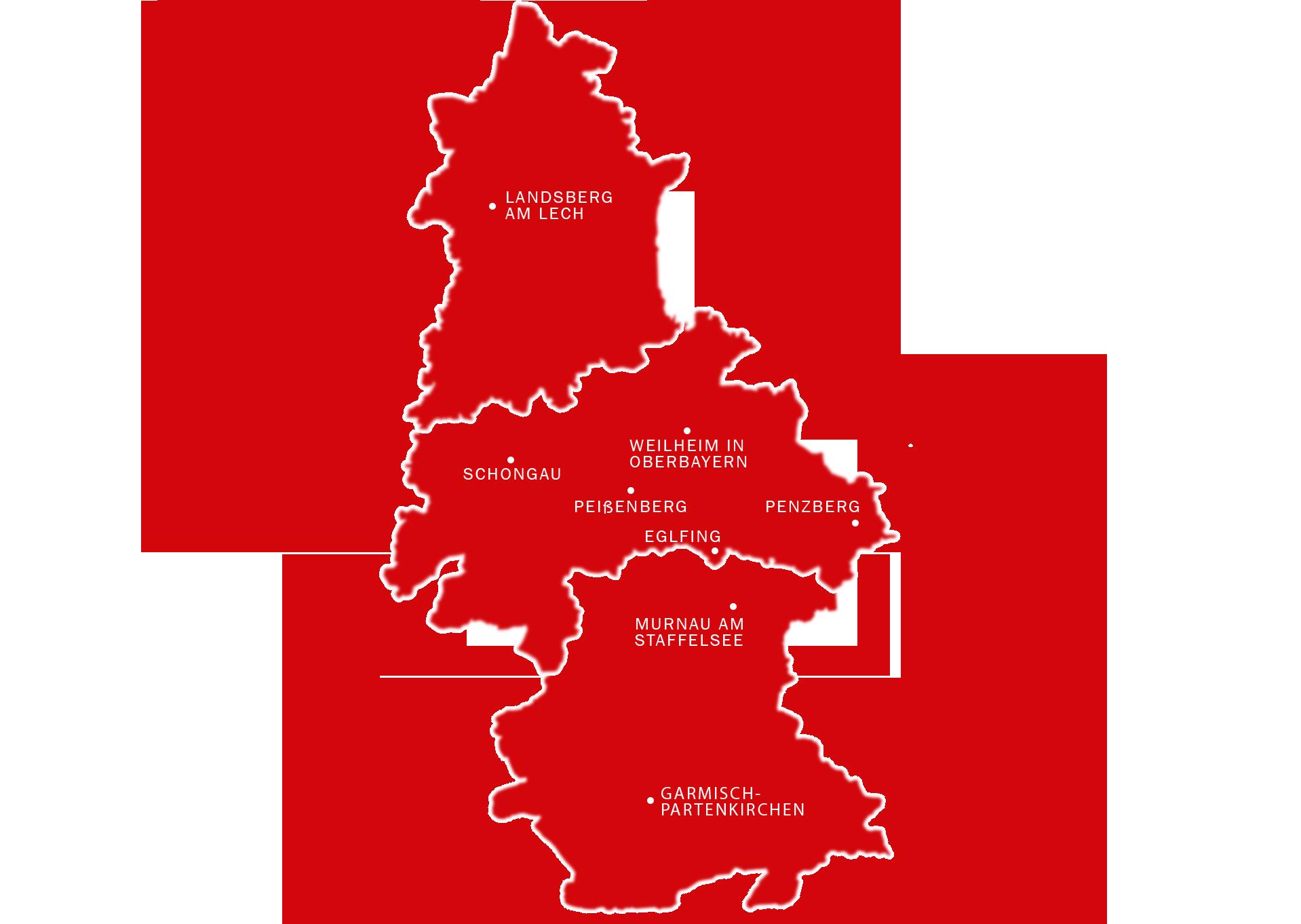 Karte in rot mit Landkreis Garmisch, Weilheim-Schongau und Landsberg.